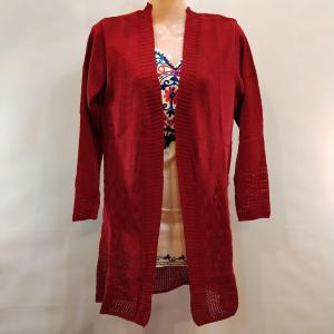 Woolen Outer - Front Open with Stretchable - Maroon Color for Women