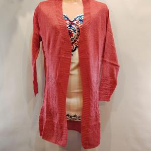 Woolen Outer - Front Open with Stretchable - Pink Color for Women