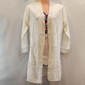 Woolen Outer - Front Open with Stretchable - Off White Color for Women
