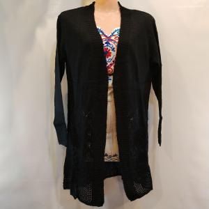 Woolen Outer - Front Open with Stretchable - Black Color for Women