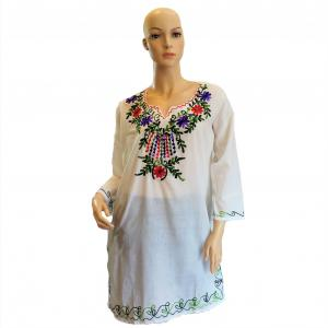 Women's Embroidered Western Cotton Top (White top with 3/4 Sleeves)
