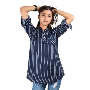 Navy Stripe Printed Mandarin Tunic For Women
