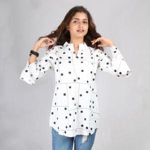 White Polka Dots Printed Mandarin Tunic For Women