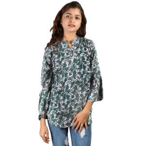 Colorful Floral Printed Mandarin Tunic For Women