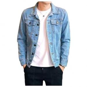 Spring Autumn Men Denim Thin Shirt Long Sleeve Soft 100% Cotton Two Pockets Slim Slight Elastic Jeans Cowboy