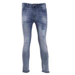 Fashion Streetwear Men Jeans Vintage Skinny Destroyed Ripped Jeans Broken Punk Pants
