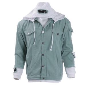 Fern Green Washed Grunge Denim Jacket For Men