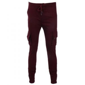 Men's Summer Casual Sport Pants Men Maroon Colour With Box Pocket Elastic Pants Small Feet Joggers Pants Drawstring Beam Pants Versatile Trousers By Bajrang