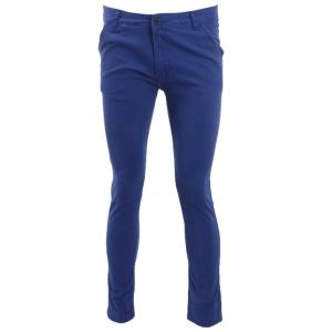 Blue Cotton Slim Fit Chinos Pant For Men