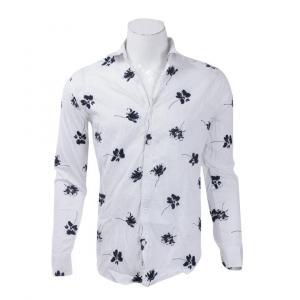 Shirts For Men Vintage Style Flower Print Turn Down Collar Long Sleeve Slim Fit Casual Shirts Streetwear