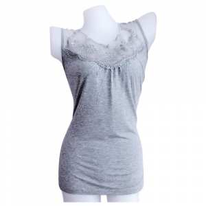 Women's Front Lace Decorated Natural Cotton Knitted Camisole Top