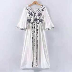 White Embroidered One Piece  For Ladeis