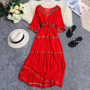 Beautiful Embroidered Red Dress For women