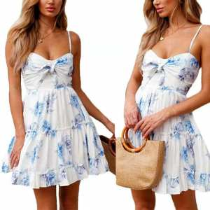 White  Floral Trending Fashion one Piece Dress For Ladies