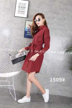 Small Box Print One Piece Dress For Ladies