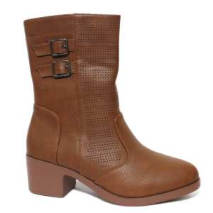 Tan Side Belted Ankle Boots For Women