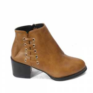 Zippered Synthetic Block Heeled Ankle Boots For Women - 010