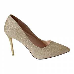 Golden Shiny Pump Heel Shoes For Women(9215)