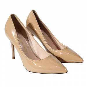 Nude Shiny Pump Heel Shoes For Women(827)