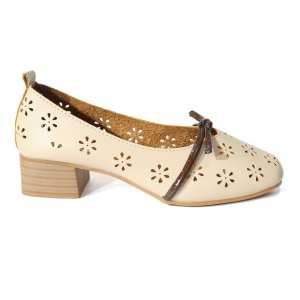 White Floral Stitched Closed Shoes For Women(D55)