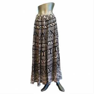 Jaipuri Cotton Women's Skirts Long Dress Jaipuri Printed ( Free Size ) - White/Black Color
