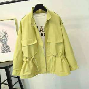 Light green Polyester made Korean Long Sleeve Front Opening Zipper and Button both Winter Fashionable Jacket for Women