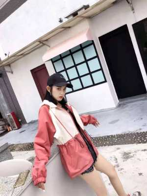 Peach white  Polyester made Korean Long Sleeve Front Opening Zipper and Button both Winter Fashionable Jacket for Women