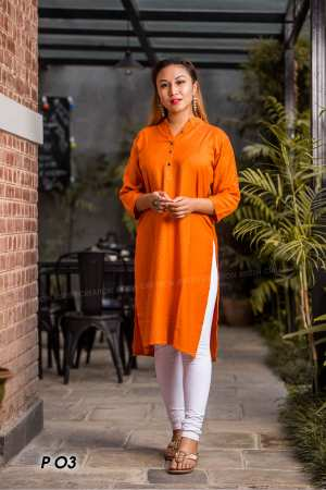 Orange Mandarin Collared Rayon Kurti For Women - Bc 863
