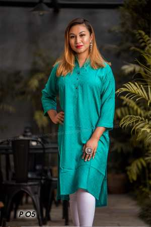 Teal Blue Slub Rayon Mandarin Collar Kurti For Women