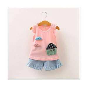 Girls Clothing T-shirt and Short Set For 5 Years(EM26-225)