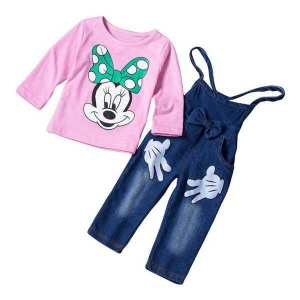 Full Sleeve Mini Mouse T-shirt with Jeans Pant Suit Set (EM25-48PINK)