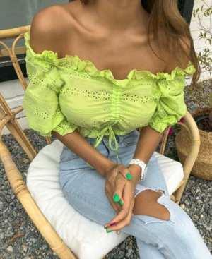 Drawstring Front Crop T-shirt - Lime
