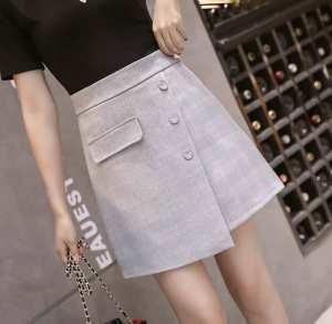 Fancy Korean Cotton irregular loose High Waist Culottes /Skirt With Inner Boxer