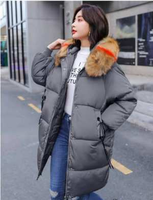 Winter Women Fashion Warm Parka Coat Fur Down Jackets