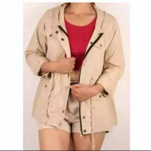 Autumn Drawstring Hood Drawstring Waist Parka Jacket For Women