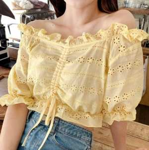Drawstring Front Crop T-shirt - Yellow