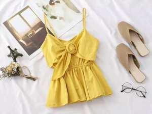 Women Cami Loose Design Clothing Beltknot Sleeveless Dress