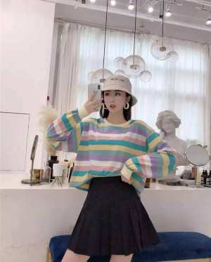 Fashion Women Tops Regular O-Neck Printed Long Sleeve Color Striped T-Shirts