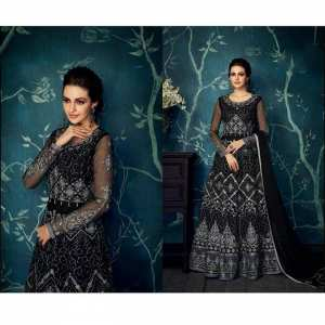 Black Embroidered Semi Stitched Gown With Dupatta Set For Women