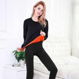 Winter Women Warm Thicken Plush Inner Wear Thermal Underwear Pajama Set