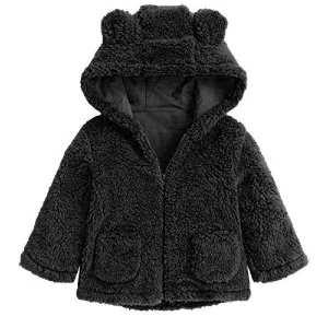 Black Hoodie Winter Ear Fur Jackets For Kids