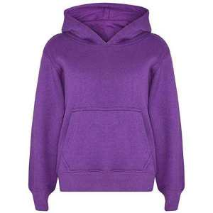 Full Sleeves Plain Kids Hoodies - Purple