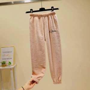 Soft Velvet Joggers For Women-Peach