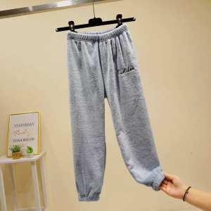 Soft Velvet Joggers For Women-Grey