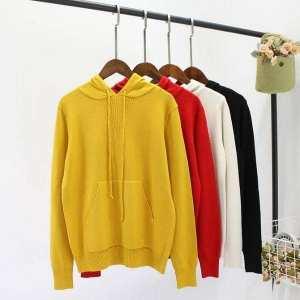Winter wear warm long  belly plain hooded hoodie  for women