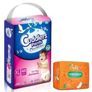 Cuddlers Eco-Pack Pant Style Diaper Extra Large (48Pcs) With Free Safety Ultra Sanitary Pads
