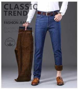 Winter Formal Denim Pant With Fur Inside For Men Fur Color may Vary