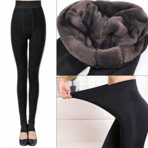 Women Thermal Thick Warm Fleece lined Fur Winter Tight Pencil Leggings Pants Black