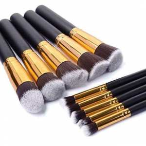 Anastasia 10pcs Brush Set Black - Anastasia Makeup Brushes Your Complete Makeup Solutions Cosmetic Foundation BB Cream Powder Blush 10 pieces Makeup Tools Black Anastasia Beverly Hills Face and Eyes Wet Powder Makeup Brush Set of 10 brushes
