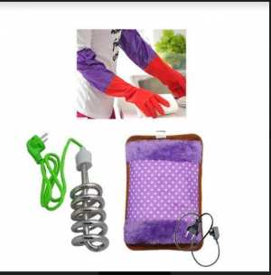 Combination of heating bag, heating rod and dish washing gloves